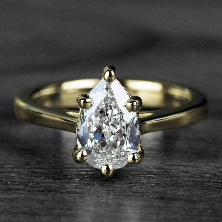 1.00 Carat Pear Diamond Cathedral Solitaire Engagement Ring in Yellow Gold