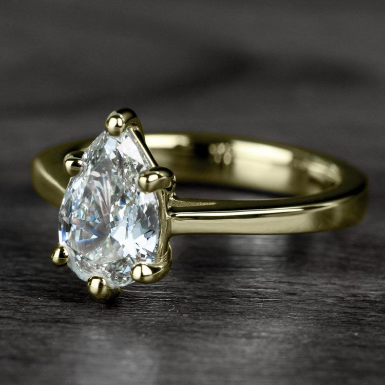 1.00 Carat Pear Diamond Cathedral Solitaire Engagement Ring in Yellow Gold angle 2