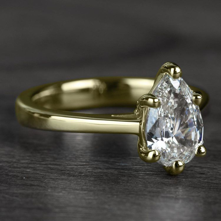 1.00 Carat Pear Diamond Cathedral Solitaire Engagement Ring in Yellow Gold angle 3