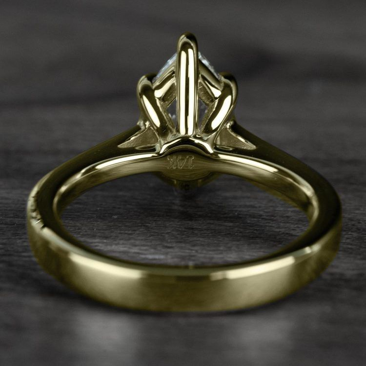 1.00 Carat Pear Diamond Cathedral Solitaire Engagement Ring in Yellow Gold angle 4