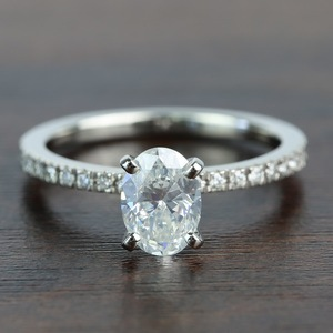 1.01 Carat Oval Petite Pave Diamond Engagement Ring