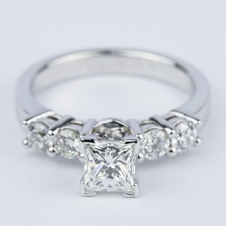 Five Diamond Engagement Ring With Princess Cut Diamond