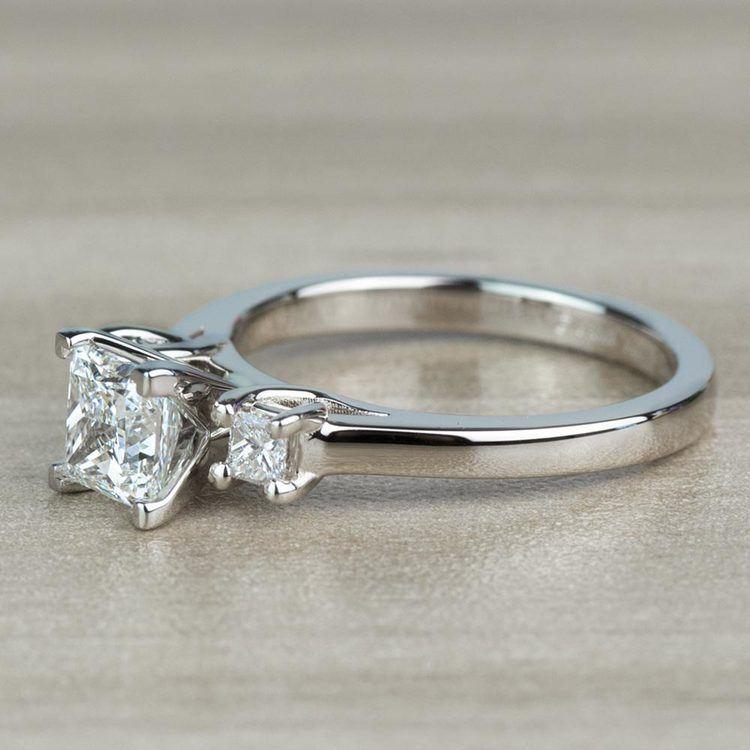 1.01 Carat Princess Trellis Diamond Engagement Ring angle 2