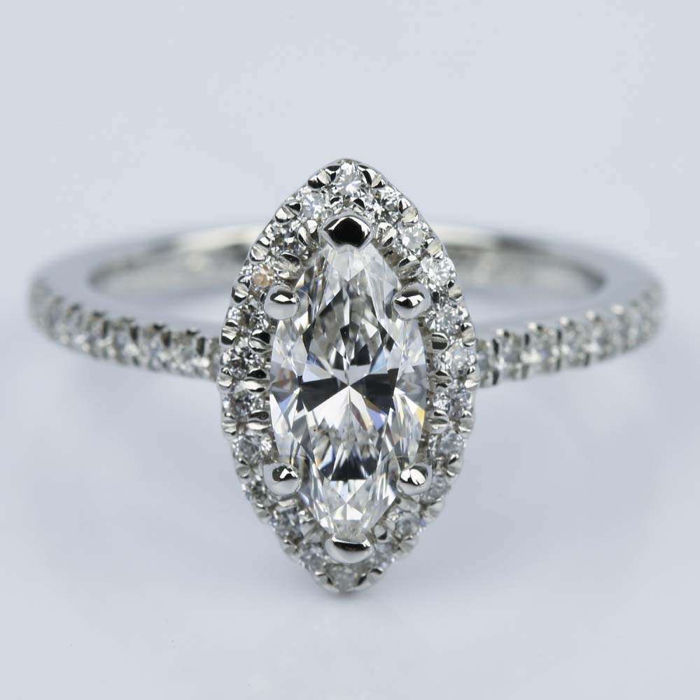Marquise Diamond Halo Engagement Ring 1 03 ct