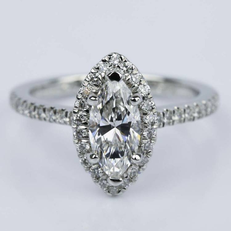 Marquise Diamond Halo Engagement Ring (1.03 ct.)