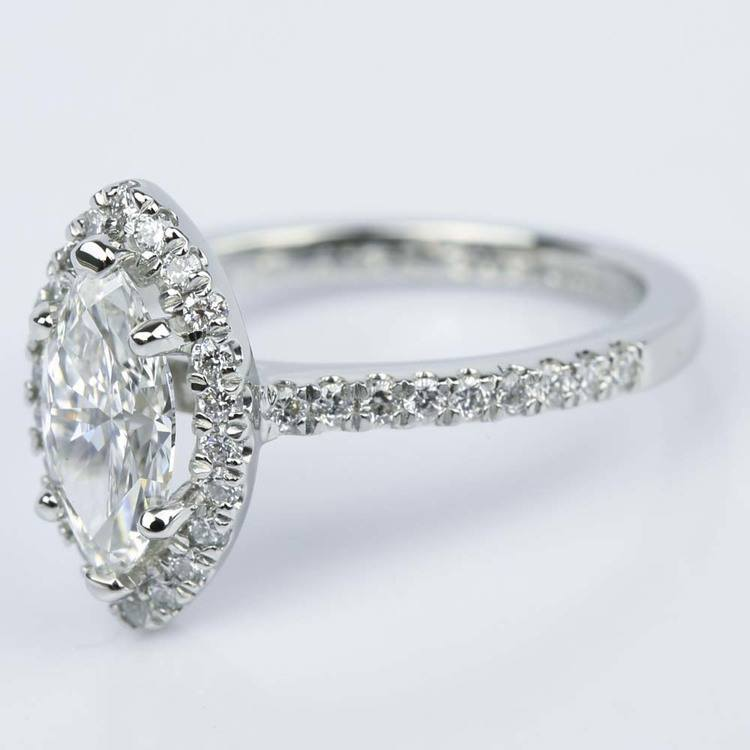 Marquise Diamond Halo Engagement Ring (1.03 ct.) angle 2