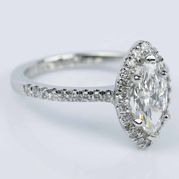 Marquise Diamond Halo Engagement Ring (1.03 ct.) angle 3