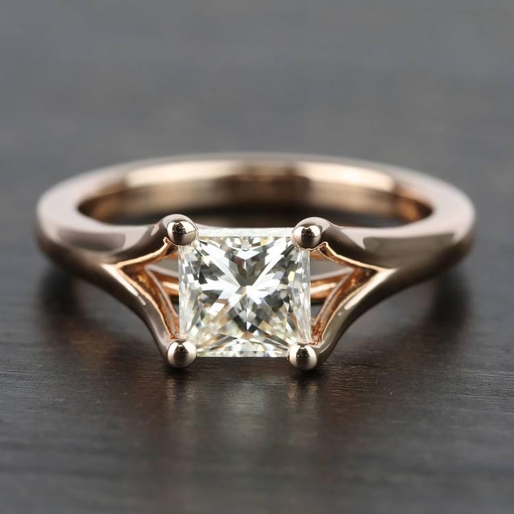 Custom Princess Split Shank Diamond Engagement Ring (1 Carat)
