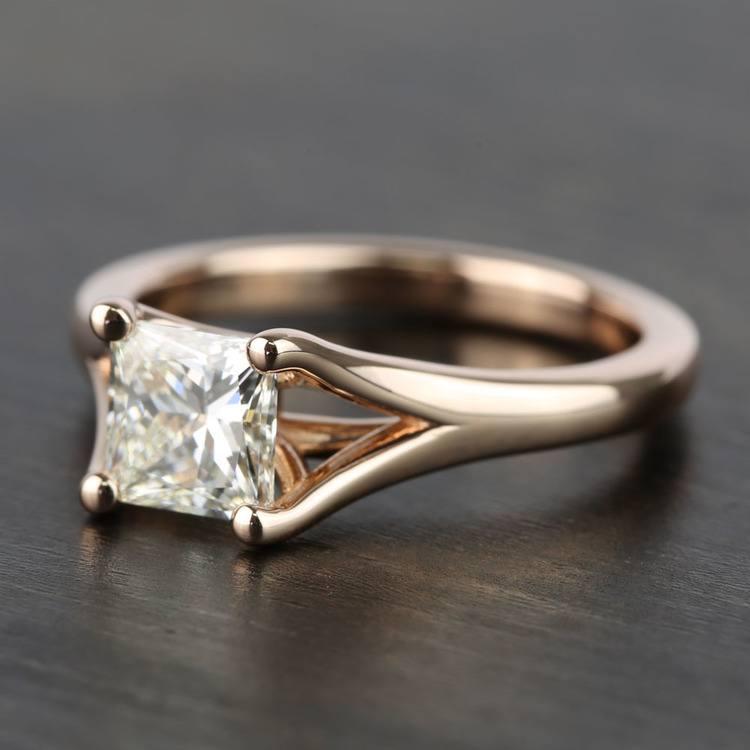 Custom Princess Split Shank Diamond Engagement Ring (1 Carat) angle 2