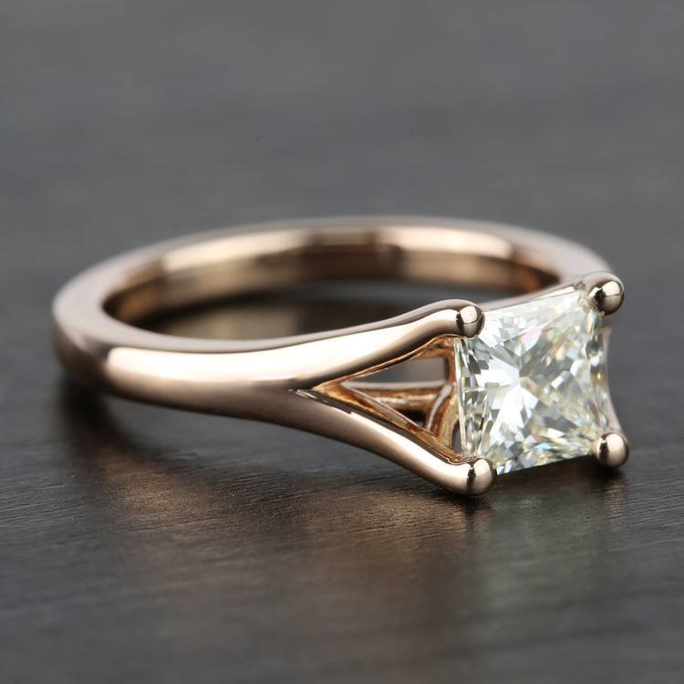 Custom Princess Split Shank Diamond Engagement Ring (1 Carat) angle 3
