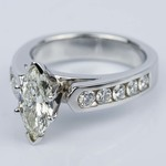 1.06 Carat Marquise Cathedral Diamond Ring with Channel Setting  - small angle 2