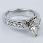 1.06 Carat Marquise Cathedral Diamond Ring with Channel Setting  - small angle 3