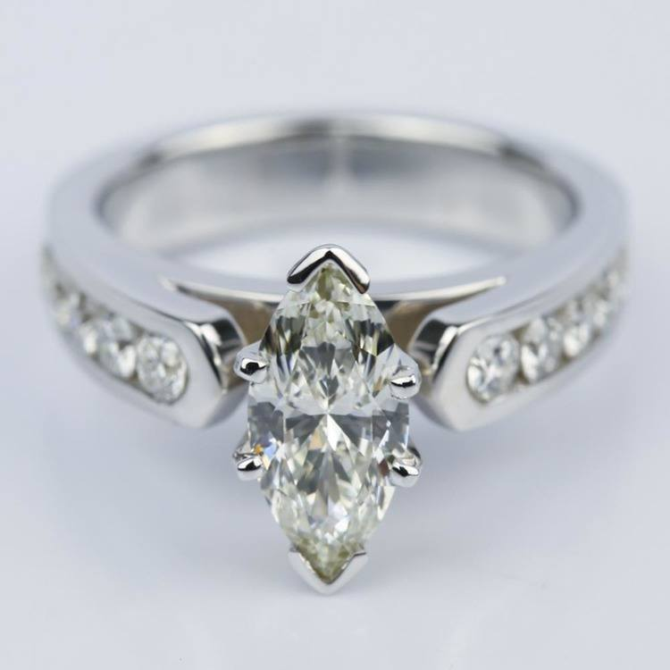 1.06 Carat Marquise Cathedral Diamond Ring with Channel Setting