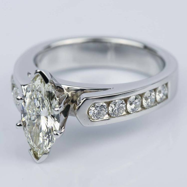 1.06 Carat Marquise Cathedral Diamond Ring with Channel Setting  angle 2