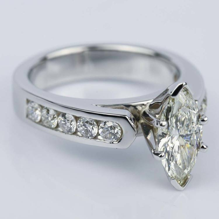 1.06 Carat Marquise Cathedral Diamond Ring with Channel Setting  angle 3