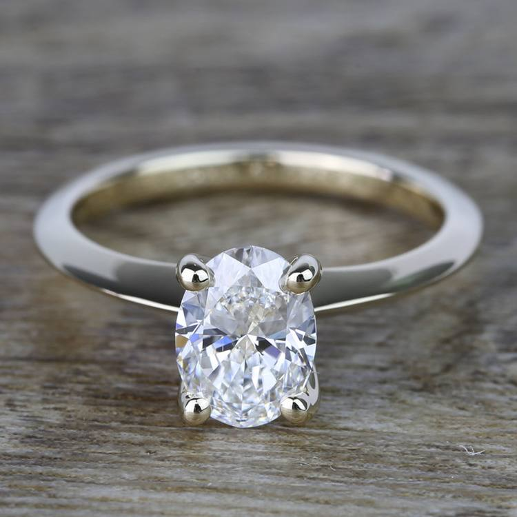 1 Carat Oval Knife Edge Solitaire Diamond Engagement Ring
