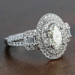 1.08 Carat Oval Double Halo Diamond Engagement Ring - small angle 3