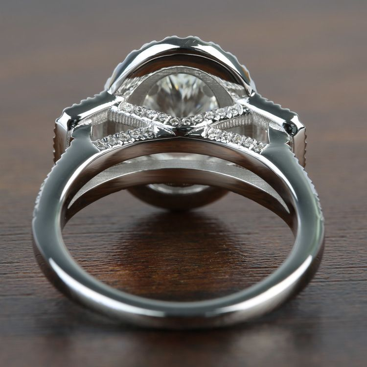 1.08 Carat Oval Double Halo Diamond Engagement Ring angle 4