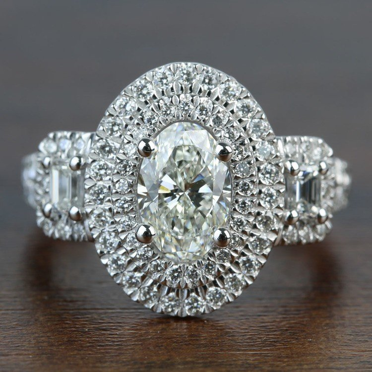 1.08 Carat Oval Double Halo Diamond Engagement Ring