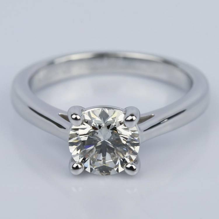 1.09 Carat Round Petite Solitaire Diamond Engagement Ring