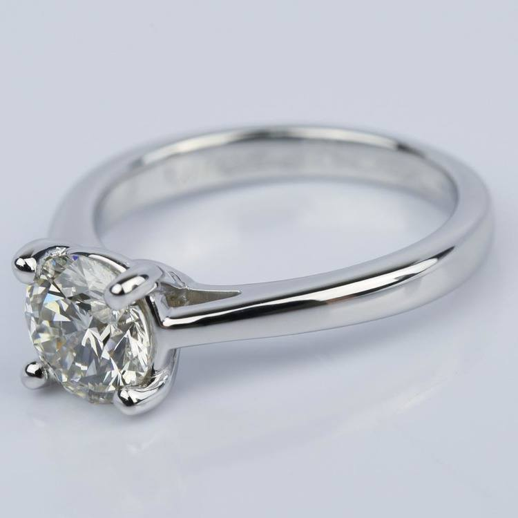 1.09 Carat Round Petite Solitaire Diamond Engagement Ring angle 2