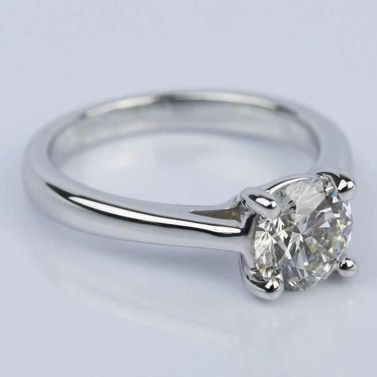 1.09 Carat Round Petite Solitaire Diamond Engagement Ring angle 3
