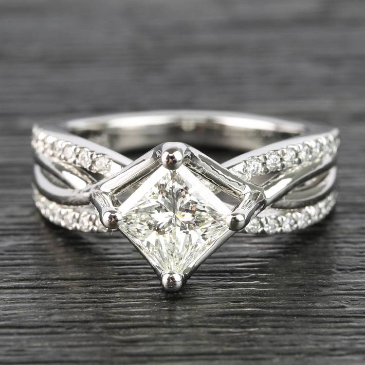 1.10 Carat Princess Twisted Split Shank Diamond Ring
