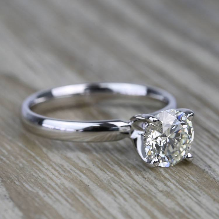 1.19 Carat Round Classic Solitaire Diamond Engagement Ring angle 3