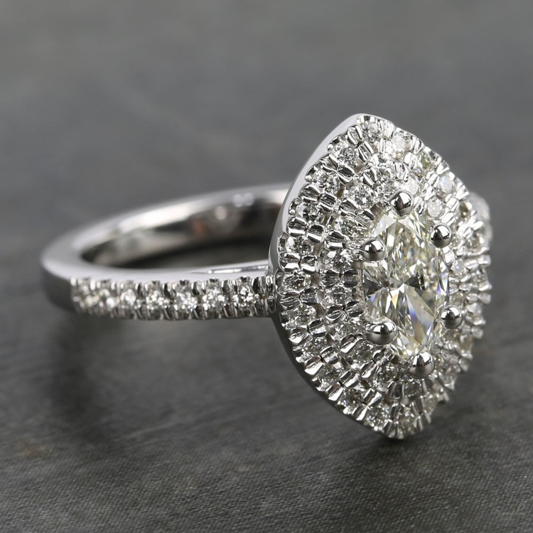 0.50 Carat Marquise Double Halo Diamond Engagement Ring angle 3