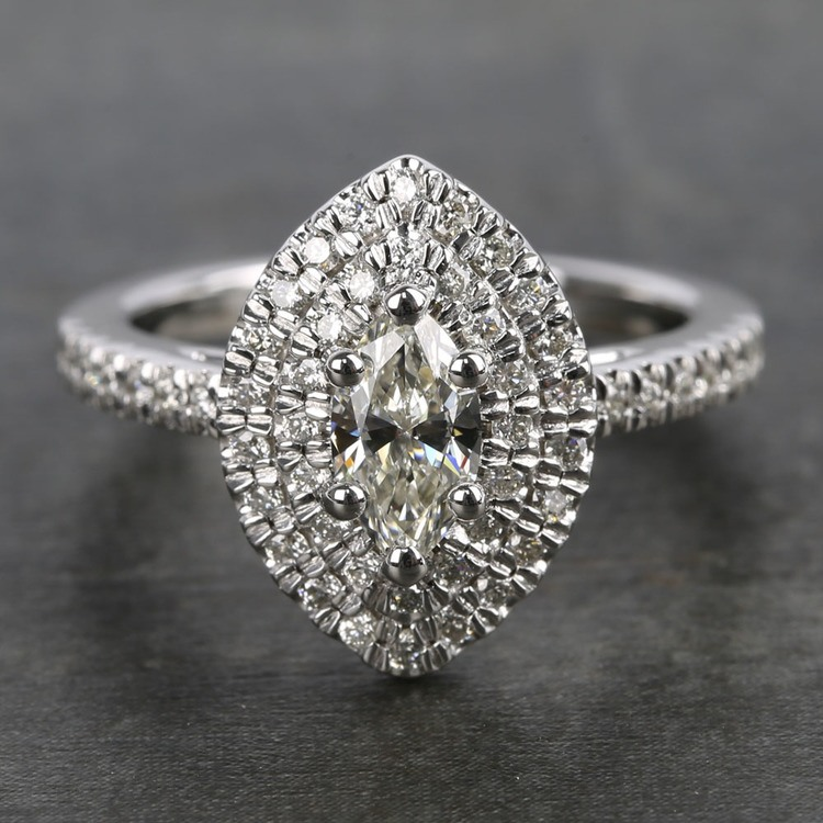 0.50 Carat Marquise Double Halo Diamond Engagement Ring