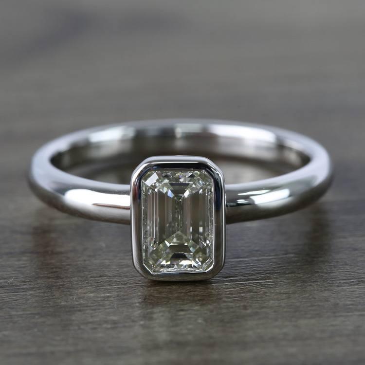 Emerald Bezel Solitaire Diamond Engagement Ring (1 Carat)