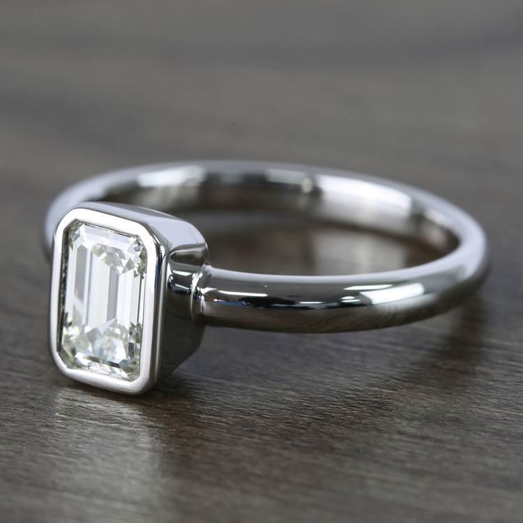 Emerald Bezel Solitaire Diamond Engagement Ring (1 Carat) angle 2
