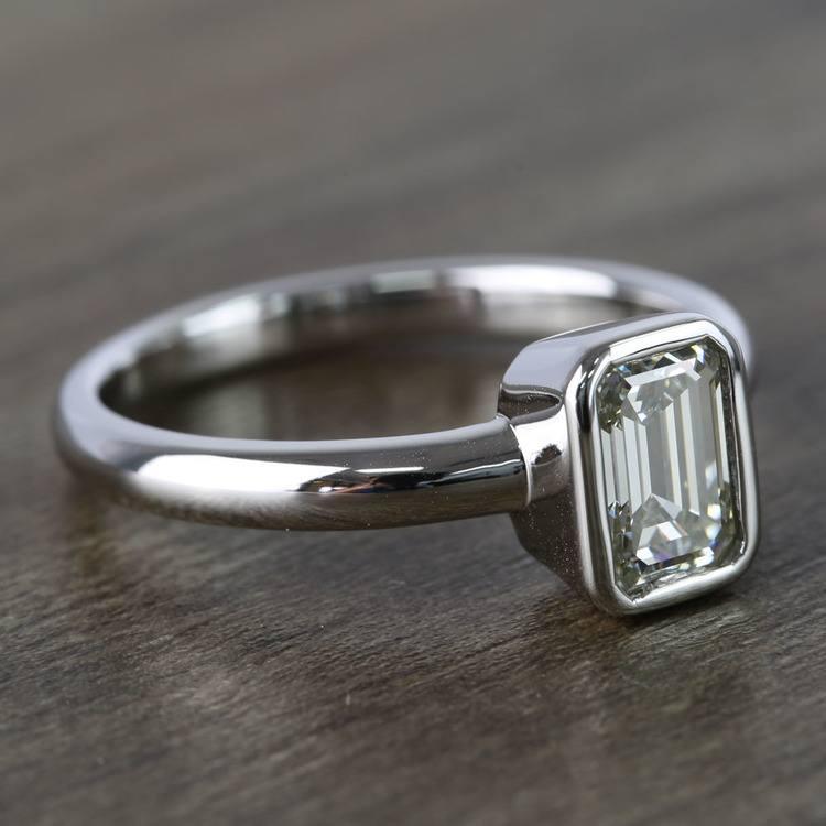 Emerald Bezel Solitaire Diamond Engagement Ring (1 Carat) angle 3