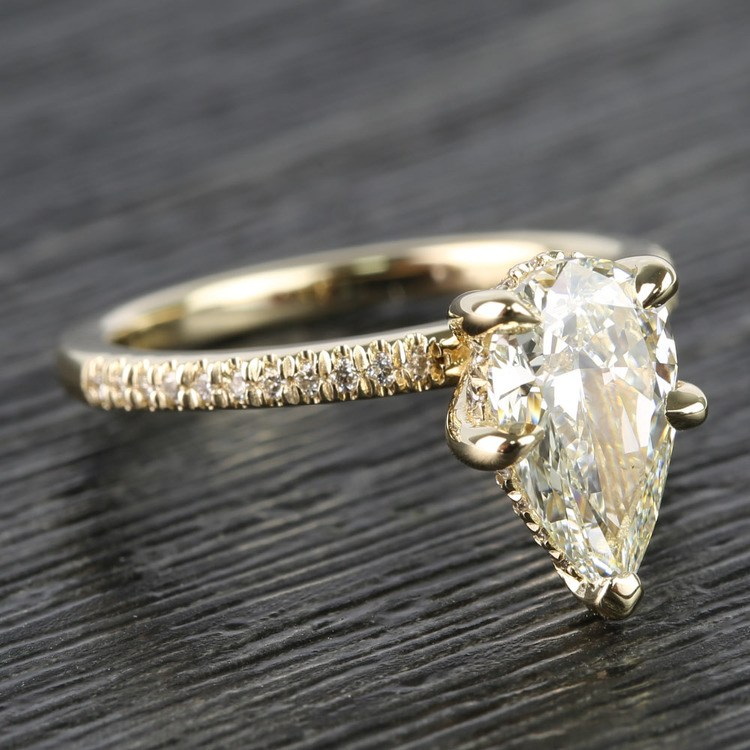 1.20 Carat Pear Claw Prong Diamond Engagement Ring angle 3