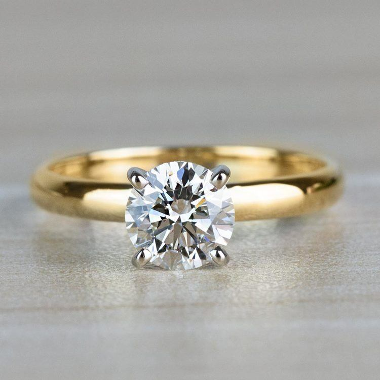 1.20 Carat Round Cut Diamond Solitaire Yellow Gold Ring