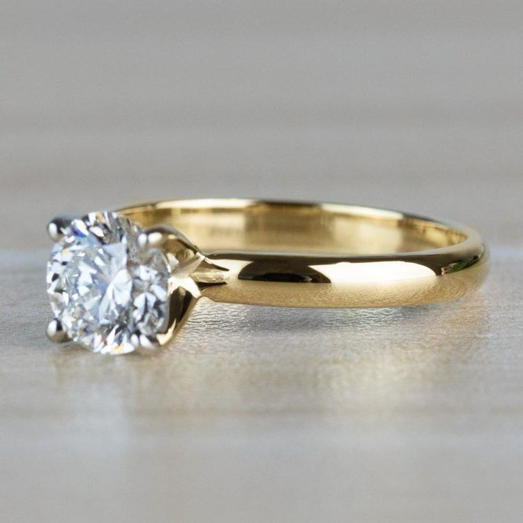 1.20 Carat Round Cut Diamond Solitaire Yellow Gold Ring angle 2