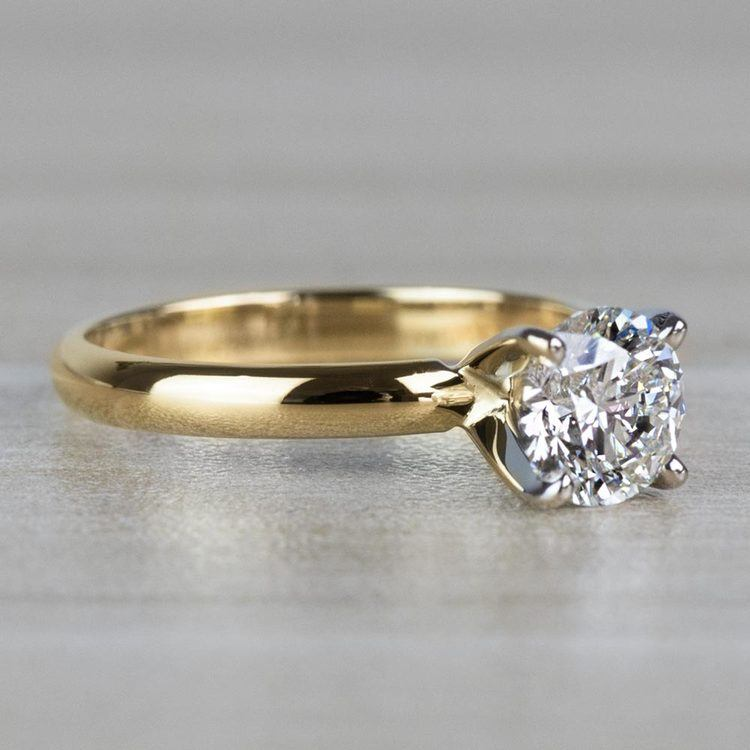 1.20 Carat Round Cut Diamond Solitaire Yellow Gold Ring angle 3
