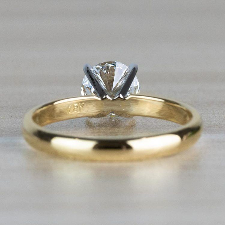 1.20 Carat Round Cut Diamond Solitaire Yellow Gold Ring angle 4