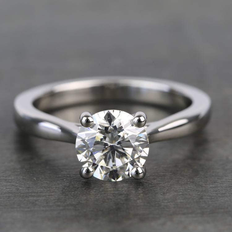 1.20 Carat Round Diamond Taper Solitaire Engagement Ring