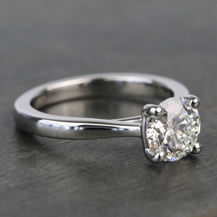 1.20 Carat Round Diamond Taper Solitaire Engagement Ring angle 3
