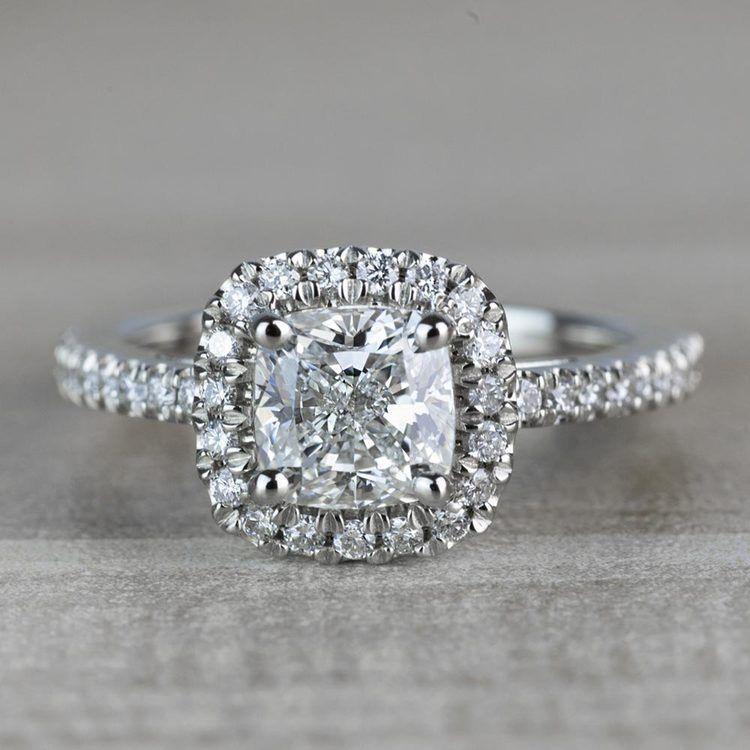 Radiant 1.20 Halo Cushion Cut Diamond Engagement Ring