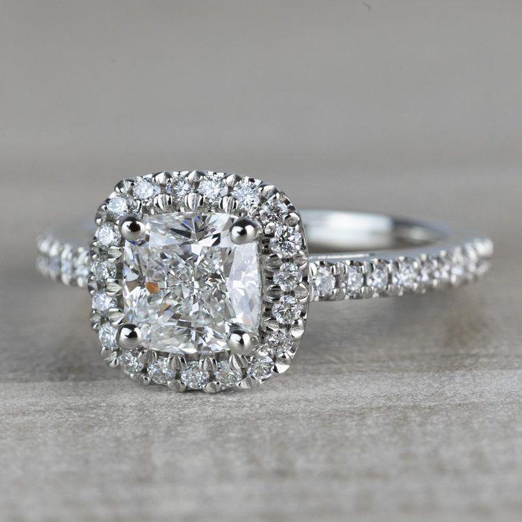 Radiant 1.20 Halo Cushion Cut Diamond Engagement Ring angle 2