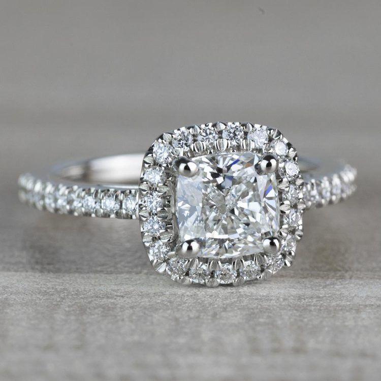 Radiant 1.20 Halo Cushion Cut Diamond Engagement Ring angle 3