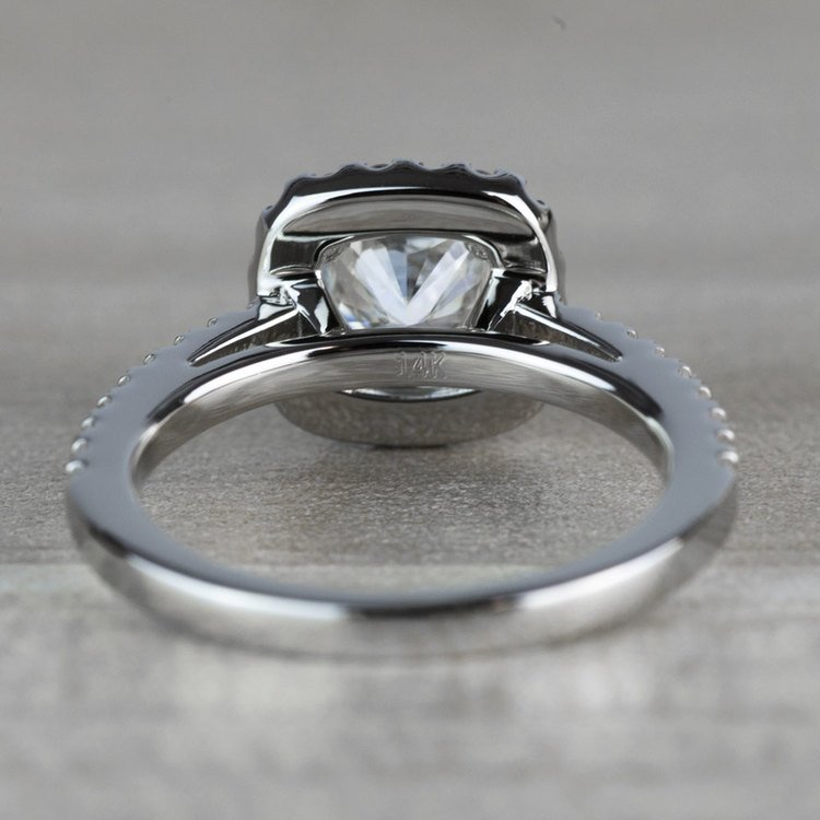 Radiant 1.20 Halo Cushion Cut Diamond Engagement Ring angle 4