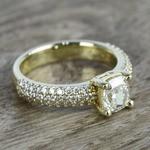 Cushion Diamond Three-Row Pave Engagement Ring (1.24 Carat) - small angle 3