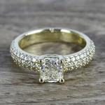 Cushion Diamond Three-Row Pave Engagement Ring (1.24 Carat) - small
