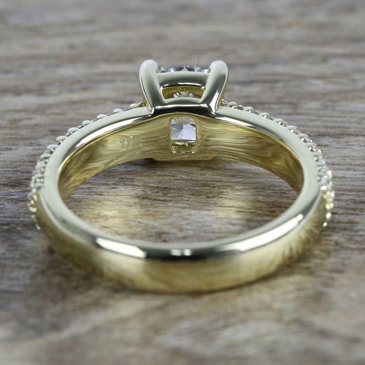 Cushion Diamond Three-Row Pave Engagement Ring (1.24 Carat) angle 4