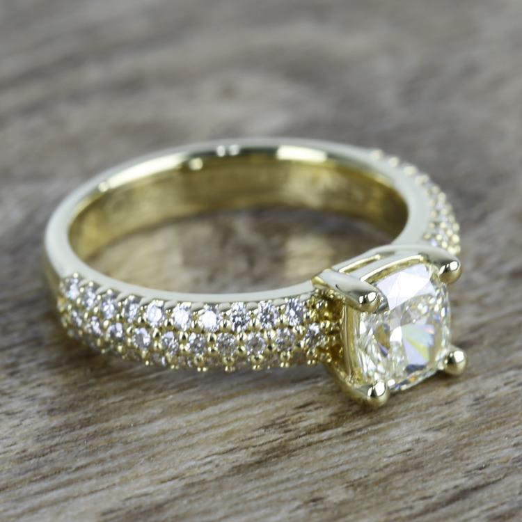Cushion Diamond Three-Row Pave Engagement Ring (1.24 Carat) angle 3