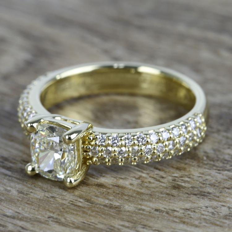 Cushion Diamond Three-Row Pave Engagement Ring (1.24 Carat) angle 2