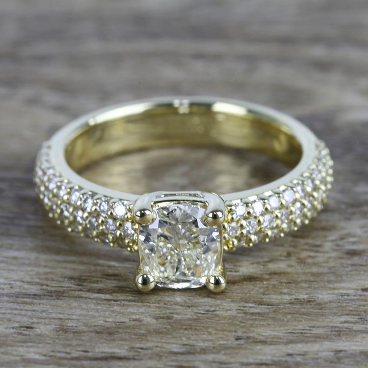 Cushion Diamond Three-Row Pave Engagement Ring (1.24 Carat)
